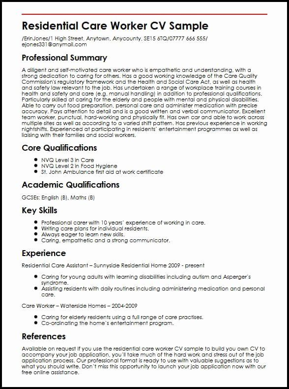Child Care Provider Resume Unique Residential Worker Cv Example Myperfectcv Assistant Job Skill Examples Personal Statement For
