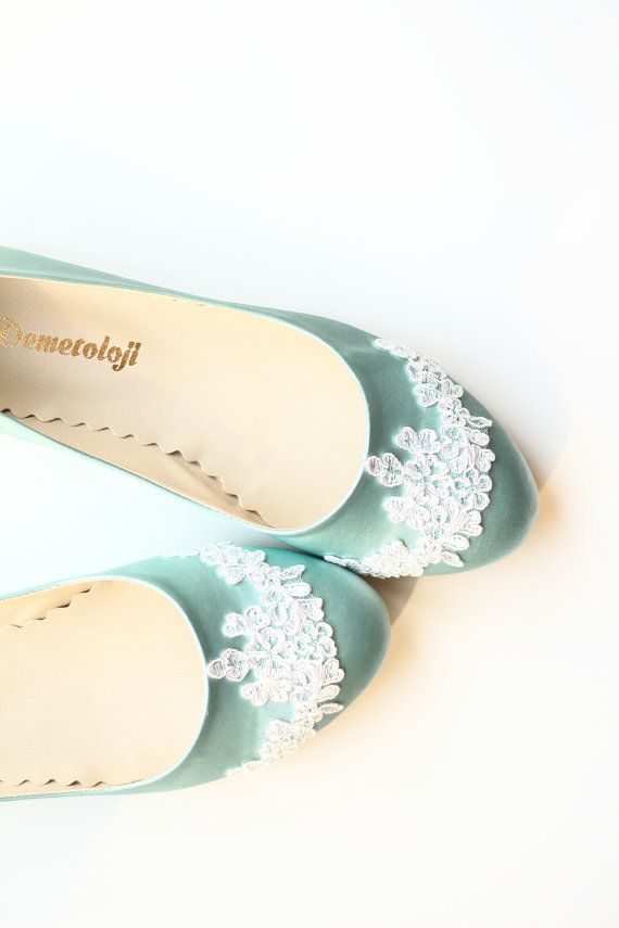 Wedding Flat Shoes Mint Green Satin Bridal Ballet By Demetoloji 7345