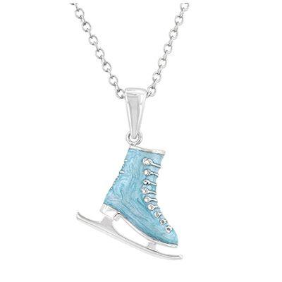 Lant cu pandantiv patina - 88 LEI    Lant cu pandantiv in forma de patina, din email, de culoare bleu.  Lantul cu pandantiv in forma de patina este confectionat din rodiu si suflat cu aur alb.