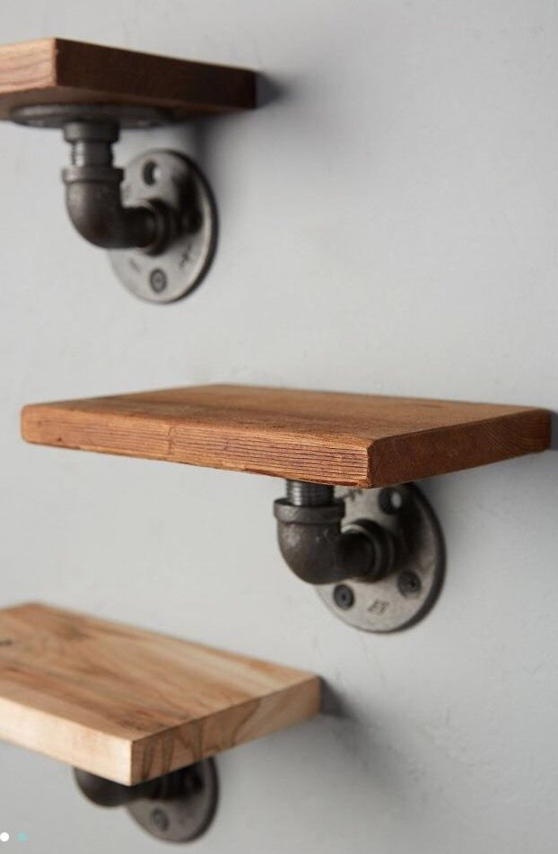 Anthropologie Style INDUSTRIAL Rustic STEAMPUNK WOOD AND PIPE WALL SHELF Unique #Handmade #IndustrialSteampunk