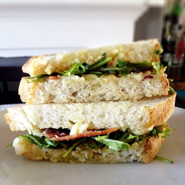 """""""That Ontario Black River Cheese Company 5 year old cheddar is insane good. Especially sandwiched between local bacon, sriracha mayo, arugula and fresh baked bread. #cdncheese #simplepleasures""""  - Kathy"""