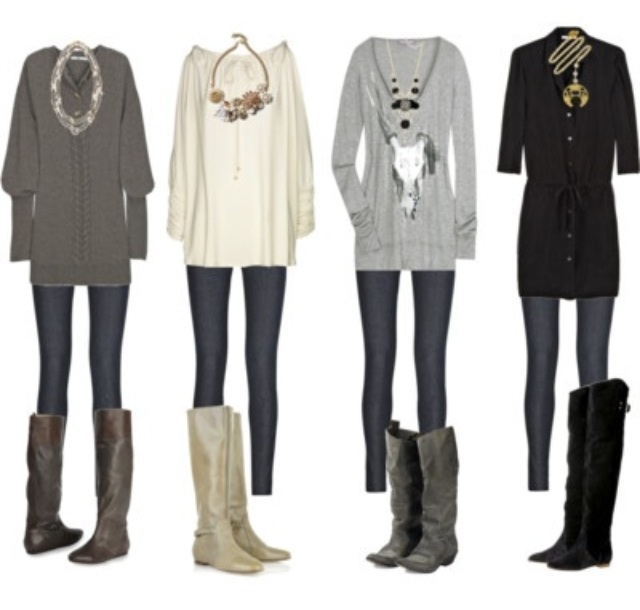 The key here is a chunky necklace & leggings with boots - perfect fall outfits