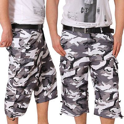 Herren-Bermuda-Zierbaender-kurze-Hose-Shorts-Cargo-Capri-Army-Sport-Sommer-Neu