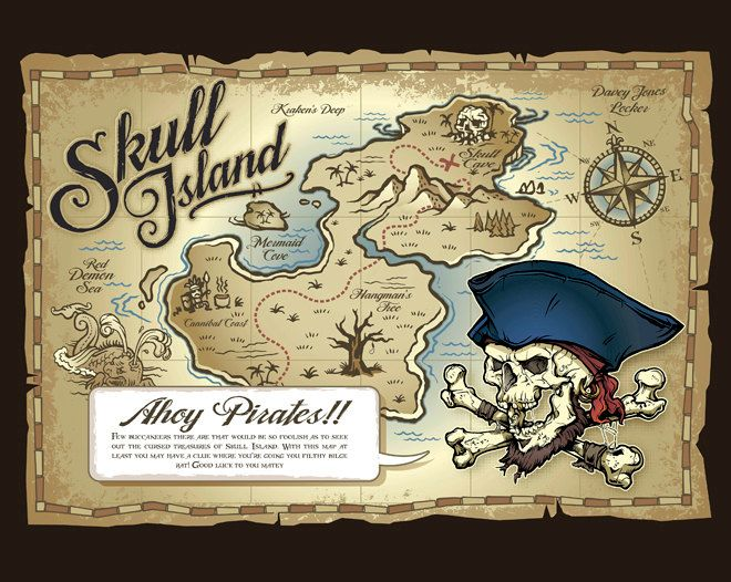 Skull Island Pirate's Treasure Map Photo Wallpaper Wall Mural, Children's…