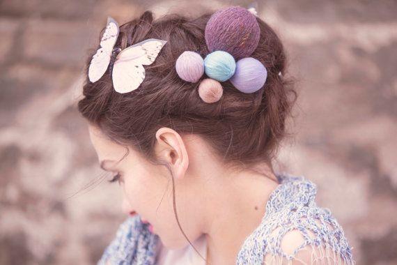 romantic hair accessories - yarn ball hair pin - rustic hair pins - long hair style - hair accessory - hair pin set - hair pieces $28.09 USD