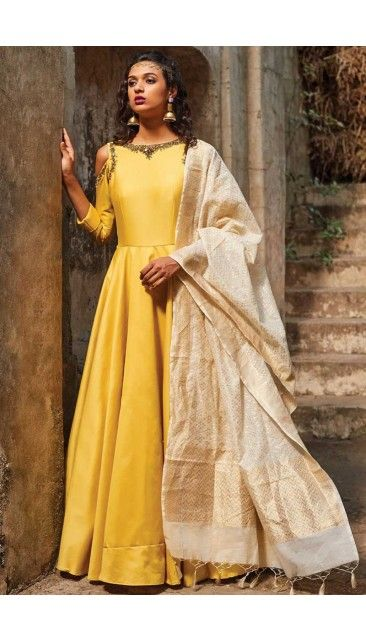 Yellow Art silk Anarkali churidar Suit With Dupatta - DMV15008