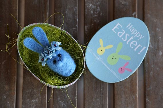 Needle felted Easter bunny. Blue rabbit with blue by donidinadya