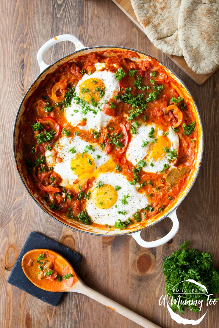For this easy, delicious dish, the eggs are poached in a rich sauce of Chopped Tomatoes, sweet peppers, red onions, garlic, chilli, and a generous swirl of Greek yoghurt.