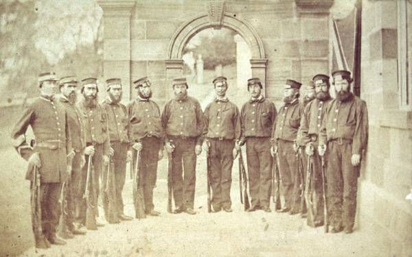 Port Arthur guards, 1866. From the Allport Library and Museum of Fine Arts, Tasmania, and used on the Companion to Tasmanian History: http://www.utas.edu.au/library/companion_to_tasmanian_history/P/Port%20Arthur.htm