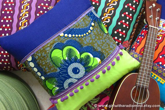 Boho Pillow African  Tribal Purple Lime Green Cushion Cover