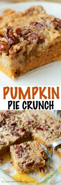 Pumpkin Pie Crunch is the easiest way to serve pumpkin pie to a crowd! A rich layer of pumpkin pie is topped with pecans and a simple 2 ingredient streusel for the perfect fall dessert!