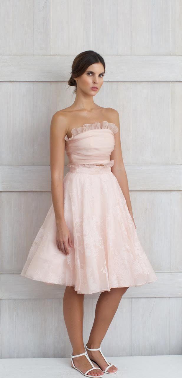 Two piece ensemble Florentina Top: 100% Silk crop top, strapless, pink Skirt