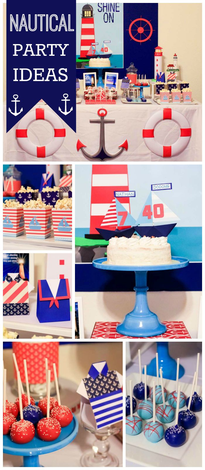 A lighthouse birthday party for a boy and his dad with themed cake pops, cake and dessert table!  See more party planning ideas at CatchMyParty.com!