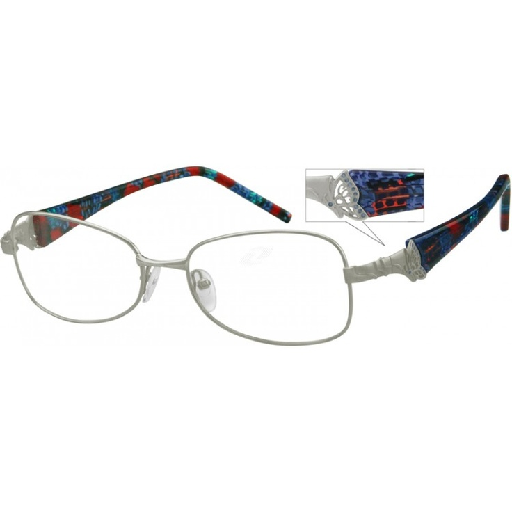 An oval, metal full-rim fashion frame with a butterfly design at corners and marbelized acetate temples. NOTE: The clip on sunlens will not work with this frame style.