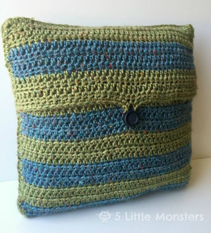 14x14 inch crocheted pillow cover with wide stripes and button flap closure