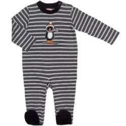 Penguin skier striped footed onesie.  Sizes 0000, 000, 00 & 0.