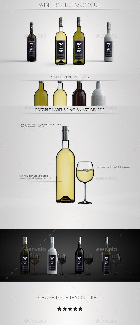 Wine Bottle Mock-Up - Food and Drink Packaging