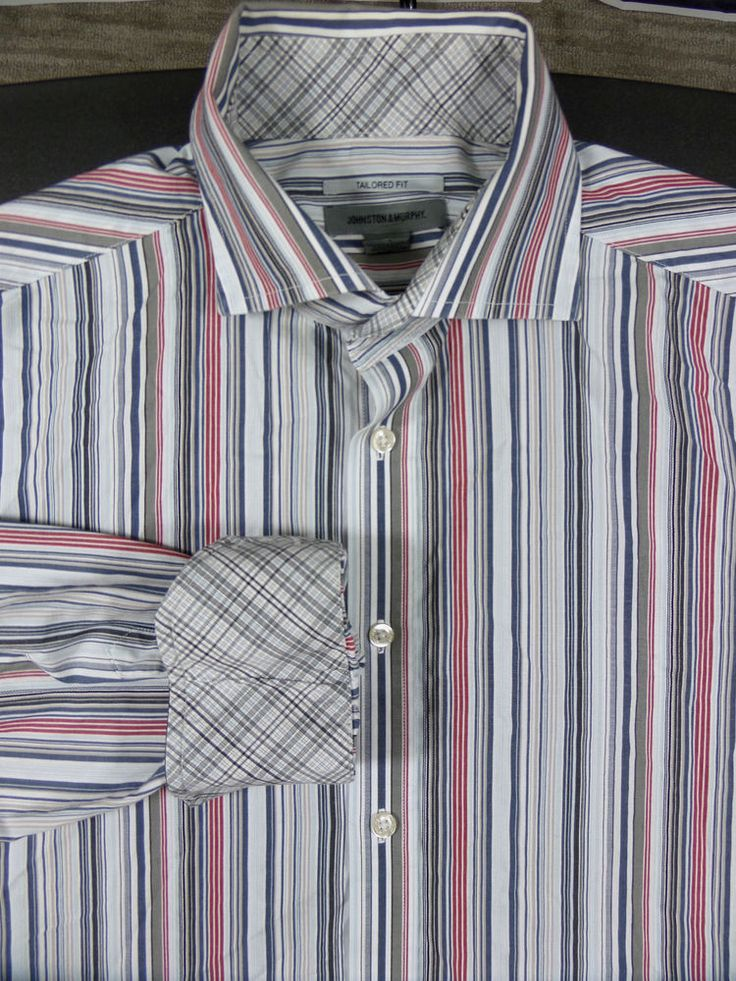 Johnson and Murphy Dress Casual Striped Shirt Size XL Tailored Fit Flip Cuffs  #JohnstonMurphy