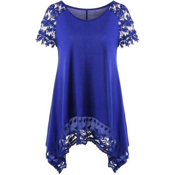 Raglan Sleeve Lace Trim Asymmetric Long T Shirt ($14) ❤ liked on Polyvore featuring tops, t-shirts, blue tee, raglan long sleeve t shirt, raglan sleeve t shirt, long tee and long length t shirts