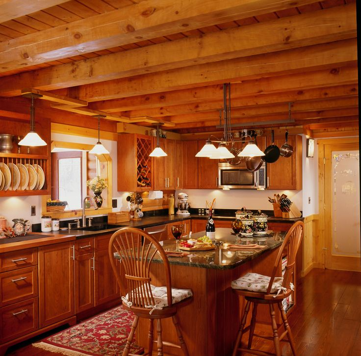81 best log homes inside out images on pinterest log for Log home kitchen designs