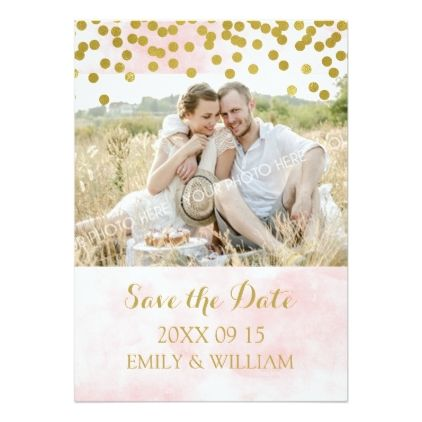 #Pink Watercolor Gold Confetti Photo Save the Date Card - #savethedate #wedding #love #card #cards #invite #invitation