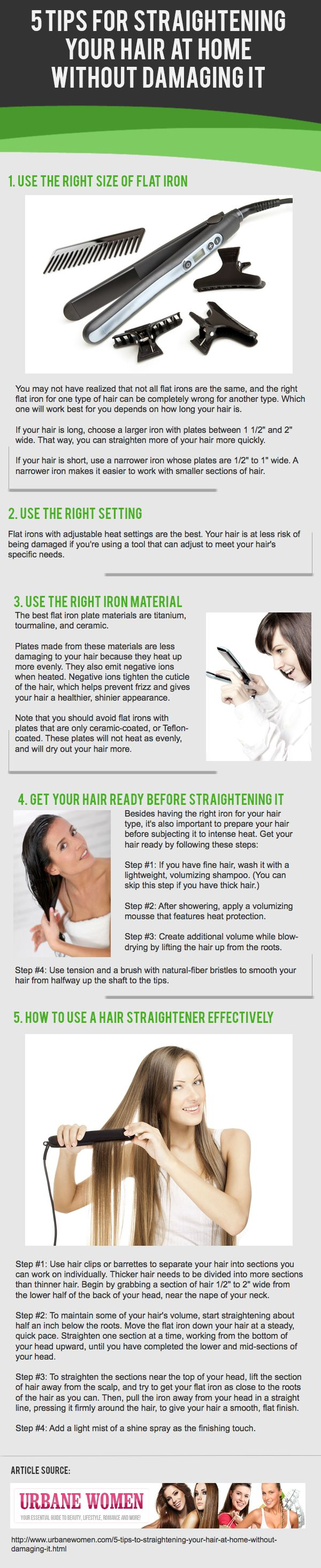 """""""5 Tips To Straightening Your Hair At Home Without Damaging It"""" as reviewed by http://www.1hairregrowth.com/cd--c-7979-cn-HairRegrowthAccessories.html"""