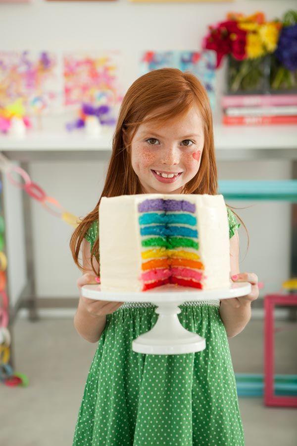 Rainbow cakeArt Parties, Birthday Parties, Rainbows Birthday, Parties Cake, Cake Ideas, Rainbows Cake, Parties Ideas, Layered Cake, Birthday Cake