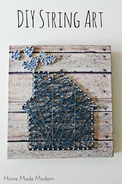 diy string art with heart smoke