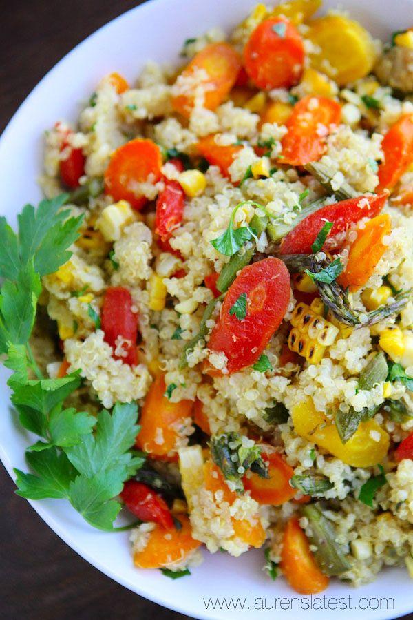 Roasted Veggie and Quinoa Salad from www.laurenslatest.com #eatseasonal