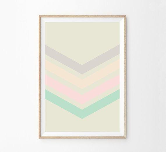 Chevron Girls Room Wall Art Print | Pastel Color Block Chevron Print Home Decor | Girls Pink Nursery Decor | Minimalist Decor Art Print
