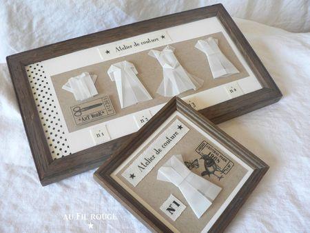 Atelier de couture ... petit tableau en origami !!! ♡
