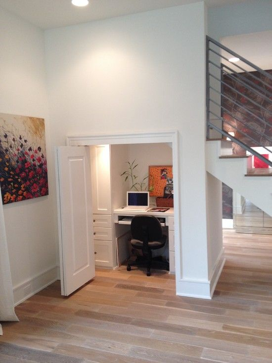 Hide-away officeIdeas, Home Office Design, Office Designs, Closets Offices, Offices Spaces, Small Offices, Home Offices Design, Under Stairs, Offices Nooks