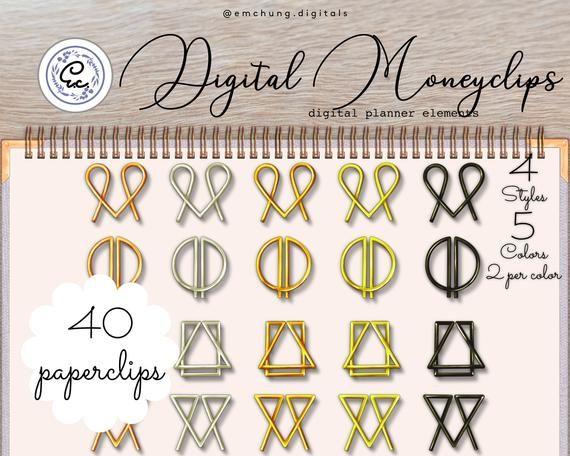 Digital Planner Stickers Money Clips Shaped Paperclip Metallic Etsy Digital Planner Planner Stickers Digital Sticker