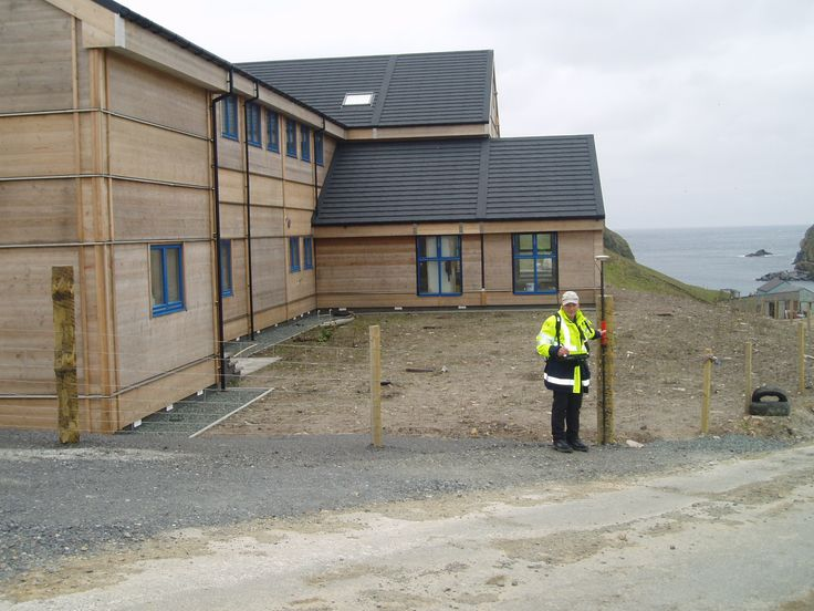 Guy surveying the new Fair Isle Bird Observatory - between Orkney and Shetland #surveyor #surveying #scotland