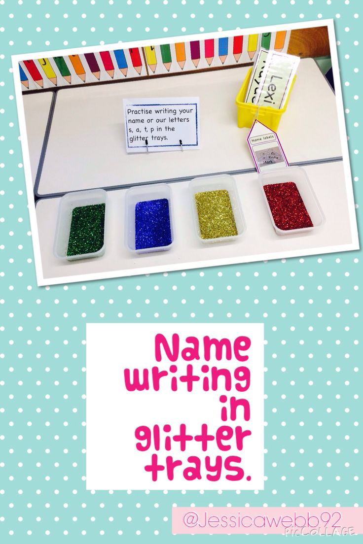 Name writing in glitter trays. EYFS