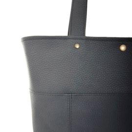 Details Black vegan leather shopper. Handmade in Holland