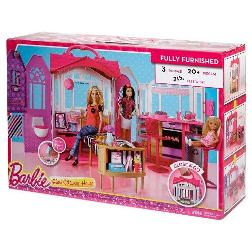 When a glam girl needs to relax, she needs a glam getaway! This amazing house is the perfect spot for Barbie doll (sold separately) to refresh and recharge. Plus, a latch and carrying handle means this getaway home is also the perfect play set to take on a getaway of your own! Unlatch and unfold to reveal a cute kitchenette, adorable bedroom and en suite bathroom. Barbie doll can make a meal at the stove and dine at the counter on one of two included chair stools -- so there's room ...