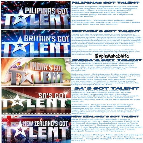 #IGTKuisMito   Filipina (PILIPINAS GOT TALENT), Inggris (BRITAIN'S GOT TALENT), India (INDIA'S GOT TALENT), Afrika Selatan (SA'S GOT TALENT) dan New Zealand (NEW ZEALAND'S GOT TALENT)