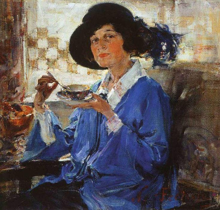 Н.И. Фешин. Картина :  Миссис Крэг (портрет гувернантки дочери). 1923.