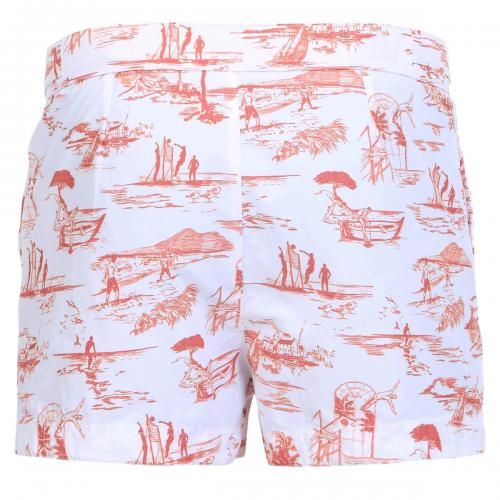 SHORT COTTON BLEND PRINTED BOARDSHORTS - Oxford Court cotton blend printed Boardshorts with two front pockets, one with zip, fixed waist with adjustable hidden drawstring, adjustable straps at the waist with snaps, internal mesh, Robinson Les Bains rubber label sewn inside, snap button fly.  #robinsonlesbains #sales #summer #mrbeachwear #beach #sale #fashion #mens