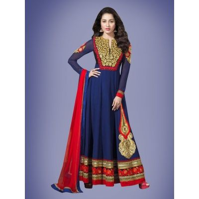 Exceedingly Designer Wedding Embroidery Blue Georgette Salwar Suit comes with Matching Color Santoon Bottom, Pink Color nazneen Dupatta.. It contained the Zari, Embroidery work with lace border. The Salwar Suit can be customized up to bust size 42