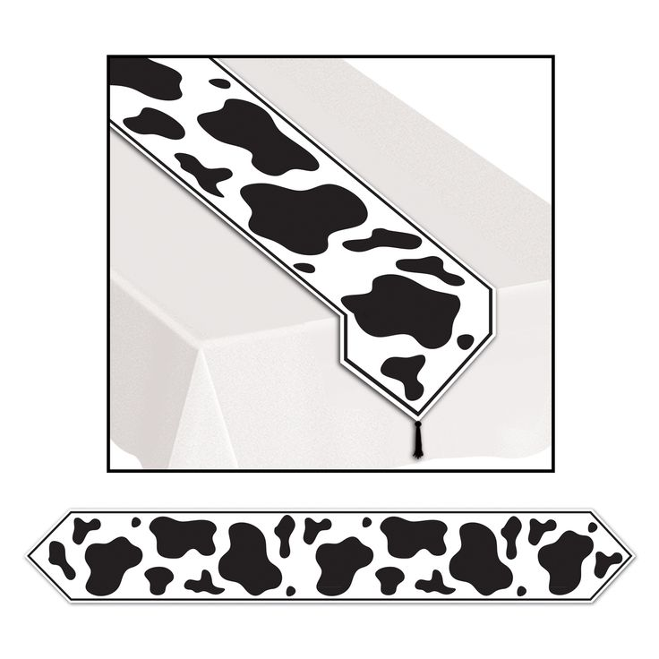 Printed Cow Print Table Runner (paper).  Keep your Barnyard, Farm or Western Cowboy themed party decorating right on track with this Cow Print Table Runner! Add this birthday party table runner to your cow lover's party table for the perfect look. Lay it on your party or birthday presents table to keep the fun moo-ing along!  27.9 cm x 1.83 m; glossy paper. Price is per (1) one table runner.
