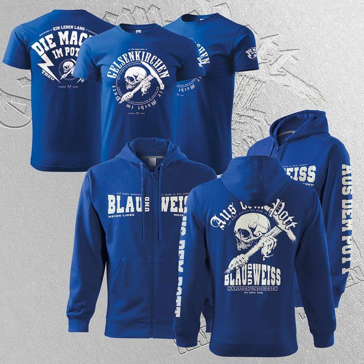 Gelsenkirchen Fan Jacke und Shirt für Damen und Herren aus dem Pott. Blau und Weiss.