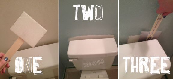 How to paint the pesky area behind the toilet without having to remove the fixture.