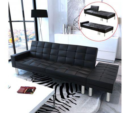 Verstelbare bedbank van kunstleer (zwart)
