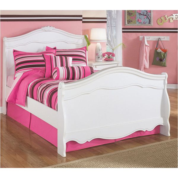 Signature Design by Ashley Exquisite Full Bed ($575) ❤ liked on Polyvore featuring home, furniture, beds, double bed headboard, full size bed furniture, white furniture, white double bed and signature design by ashley