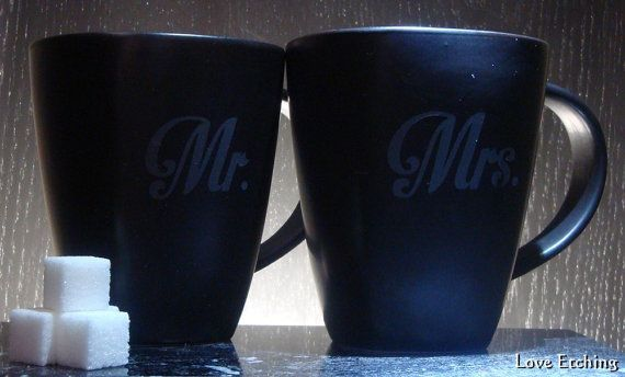 Mr. & Mrs.  Love kanji  Etched Black Square Coffee by LoveEtching, $45.00