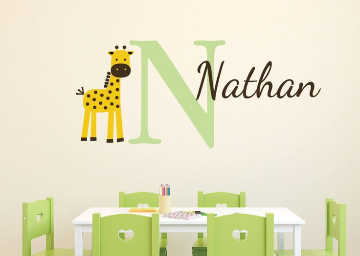 Giraffe Monogram Personalized Name and Initial  Vinyl Decal Boy Girl Nursery Jungle Theme by WildEyesSigns on Etsy https://www.etsy.com/listing/220853641/giraffe-monogram-personalized-name-and