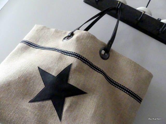 sac cabas XL en toile de jute avec étoile de la boutique bykarbon sur Etsy
