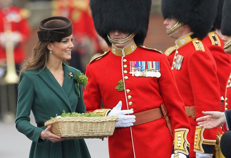 Kate - Emilia Wickstead Emerald Coat Dress St Patrick's Day Parade Aldersgot England 17 March 2012